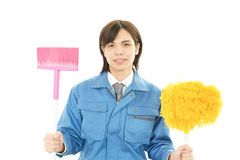 Smiling Asian janitor Royalty Free Stock Photography