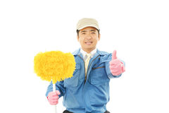 Smiling Asian janitor Royalty Free Stock Photos