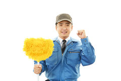 Smiling Asian janitor Stock Photos