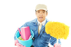 Smiling Asian janitor Royalty Free Stock Images