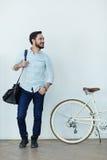Smiling Asian Man with Bike Stock Photos