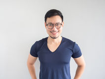 Smiling Asian man with eyeglasses. stock images