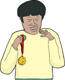 Smiling Asian Man with Medal Royalty Free Stock Photography
