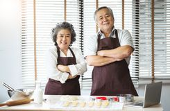 Smiling Asian senior couple standing with arms crossed stock image