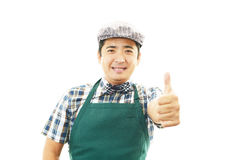 Smiling Asian waiter Stock Photo