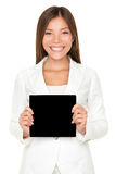 Smiling Asian woman with black card Stock Photos
