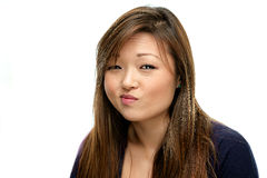 Smiling Asian Woman in Blue Shirt Royalty Free Stock Photo