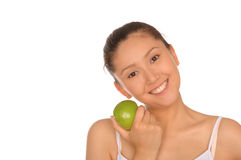 Smiling asian woman with green apple Stock Photography