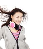 Smiling asian woman with headphones Royalty Free Stock Photos