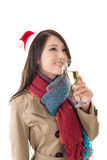 Smiling Asian woman hold a  glass of champagne Stock Photo
