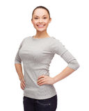Smiling asian woman over white background Stock Photo