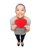 Smiling asian woman with red heart Stock Photography