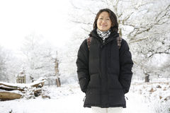 Smiling Asian Woman in snow covered Park Royalty Free Stock Photo
