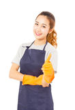 Smiling Asian Woman Wearing Rubber Gloves Giving Thumbs Up. Smiling Asian Woman Wearing Rubber Gloves Giving Thumbs Up On a White Background Stock Images