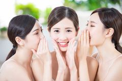 Skin care asian women friend stock photography