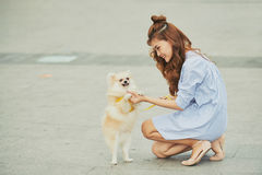 Training dog. Smiling Asian young woman teaching her dog to stand on two paws Royalty Free Stock Image