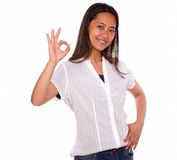 Smiling asiatic young woman saying great job Stock Images