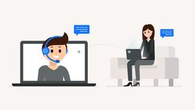 Cartoon boy and girl having dialogue online Royalty Free Stock Images
