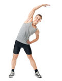 Smiling athlete doing exercises Royalty Free Stock Image