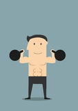 Smiling athlete lifting black kettlebells Stock Photography