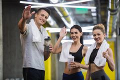 Smiling athletes are expressing excitement after workout royalty free stock photo