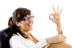 Smiling attorney with ok hand gesture Royalty Free Stock Photos