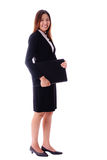 Smiling attracktive asian business woman holding notebook on whi Stock Image
