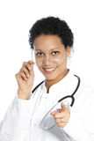 Female doctor pointing towards the camera Stock Photos