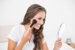 Smiling attractive brunette using a brush and a mirror Stock Image