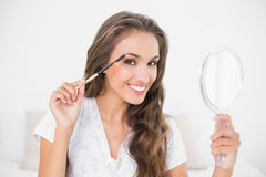 Smiling attractive brunette using eyebrow brush and mirror Stock Photo