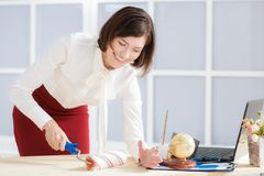 Attractive business woman changing activity Royalty Free Stock Photos