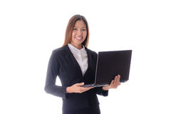 Smiling attractive business woman holding notebook on white back Royalty Free Stock Images
