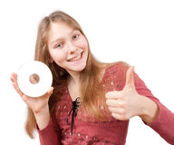 Smiling attractive girl holds CD Royalty Free Stock Photography