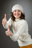 Smiling attractive girl showing thumbs up Royalty Free Stock Photography