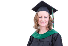 Smiling attractive middle-aged woman graduate Royalty Free Stock Photos