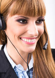 Smiling attractive woman with headphone Royalty Free Stock Photos