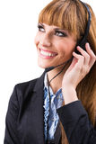 Smiling attractive woman with headphone Royalty Free Stock Images