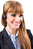 Smiling attractive woman with headphone Stock Images