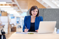 Smiling attractive young businesswoman working at her desk Stock Photo