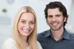 Smiling attractive young couple Stock Photos