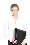 Smiling office worker carrying a file Stock Photos
