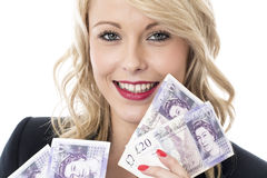 Smiling Attractive Young Woman Holding Money Stock Photos