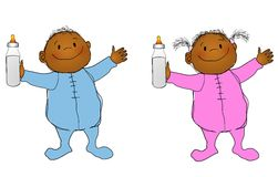 Smiling Babies Boy and Girl 2. An illustration featuring two african american  babies , a boy and girl, holding milk bottle and wearing blue and pink sleepers Stock Photography
