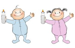 Smiling Babies Boy and Girl. An illustration featuring two caucasian babies , a boy and girl, holding milk bottle and wearing blue and pink sleepers, smiling stock illustration