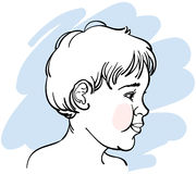 Smiling Baby. A side profile illustration of a baby's face Stock Image