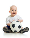 Smiling baby with ball over white background Royalty Free Stock Photography