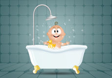 Smiling baby in bath Royalty Free Stock Images