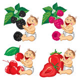 Smiling baby with a blackberries, strawberries, raspberries and cherry Royalty Free Stock Images