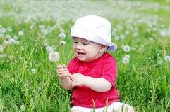 Smiling baby with blowball Royalty Free Stock Images