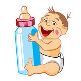Smiling baby with a bottle of milk. Drawing cartoon smiling baby with a bottle of milk stock illustration